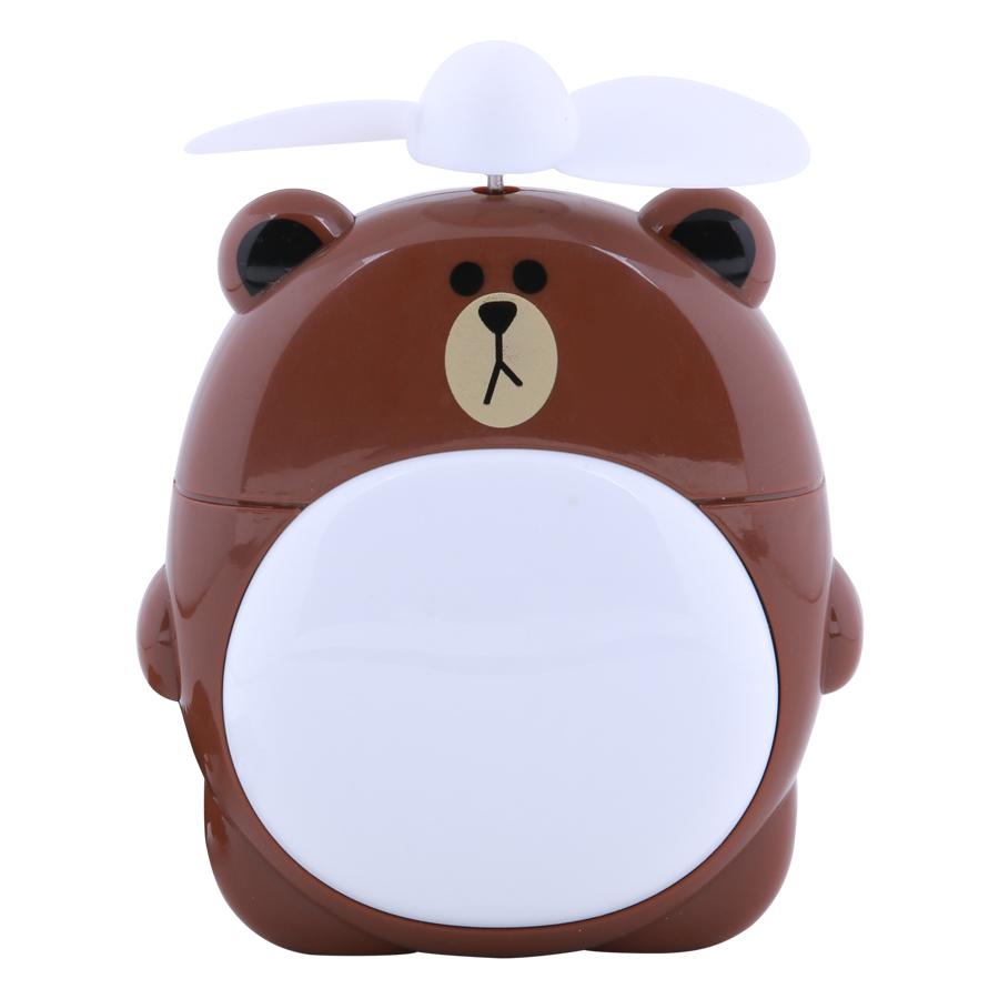 Quạt Sạc Mini Có Đèn Gấu Brown
