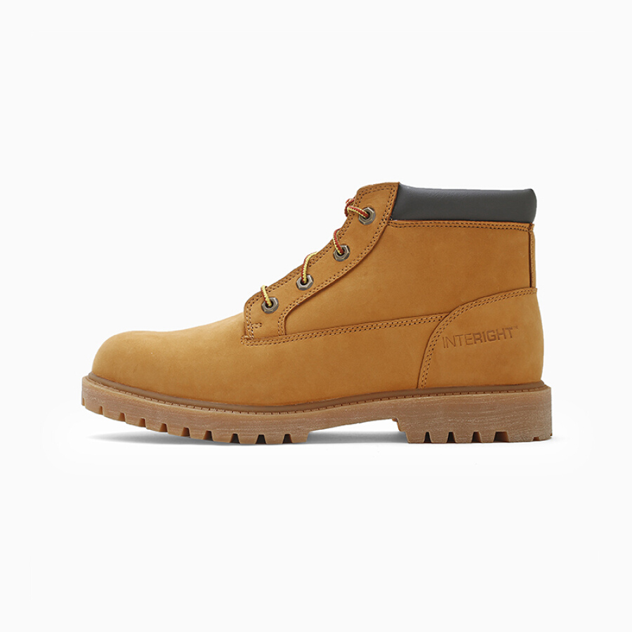 INTERIGHT Male Waterproof Leather Coat of Rhubarb Desert Boots