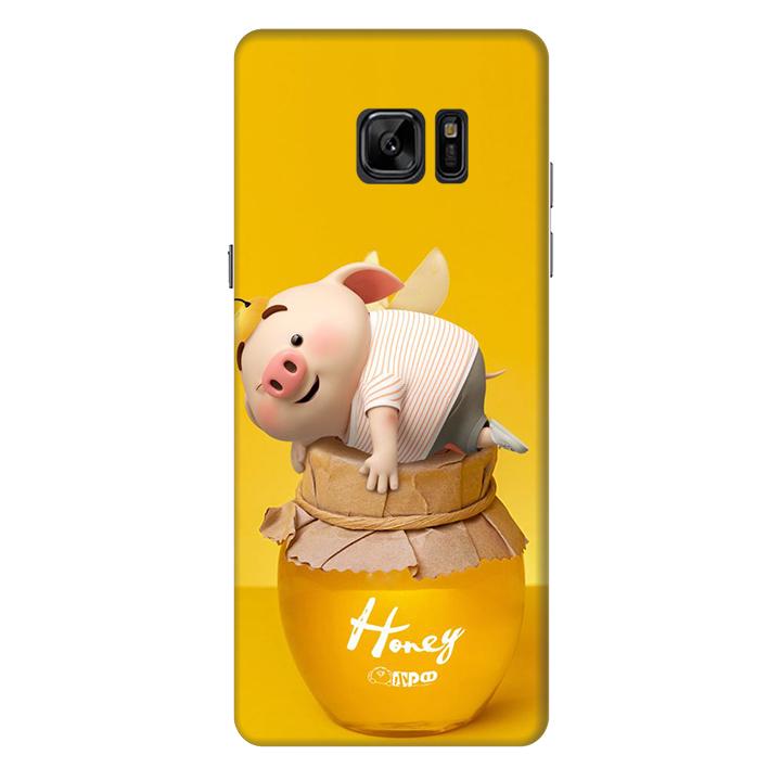 Ốp lưng nhựa cứng nhám dành cho Samsung Galaxy Note FE in hình Heo Cute