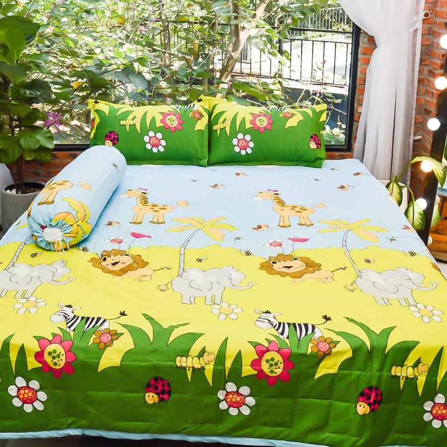 Bộ sản phẩm 5 món , đặc biệt chăn gối chần gòn vải cotton hoa P26
