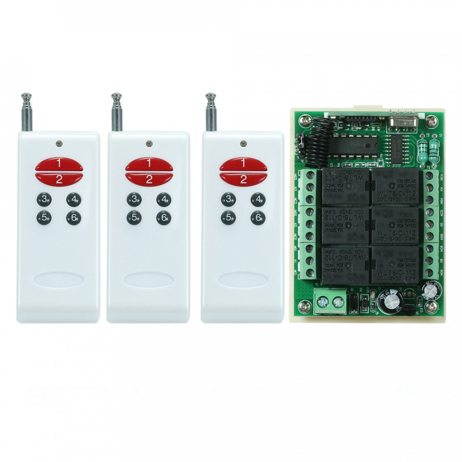 433Mhz DC 12V 6CH Channel Universal 10A Relay Wireless RF Remote Control Switch Receiver Module and 3PCS 6 Key RF 433 - 2370442 , 9221379906125 , 62_15521031 , 569000 , 433Mhz-DC-12V-6CH-Channel-Universal-10A-Relay-Wireless-RF-Remote-Control-Switch-Receiver-Module-and-3PCS-6-Key-RF-433-62_15521031 , tiki.vn , 433Mhz DC 12V 6CH Channel Universal 10A Relay Wireless RF R