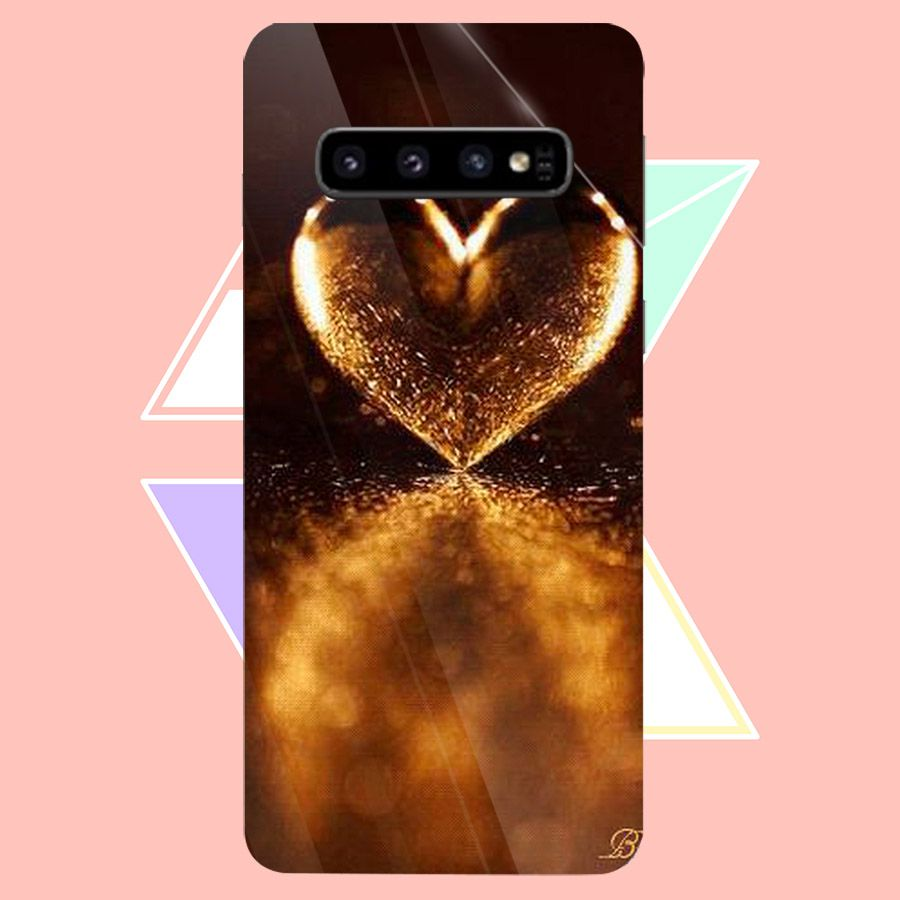 Ốp điện thoại kính cường lực cho máy Samsung Galaxy S10 Plus - trái tim tình yêu MS LOVE073 - Hàng Chính Hãng