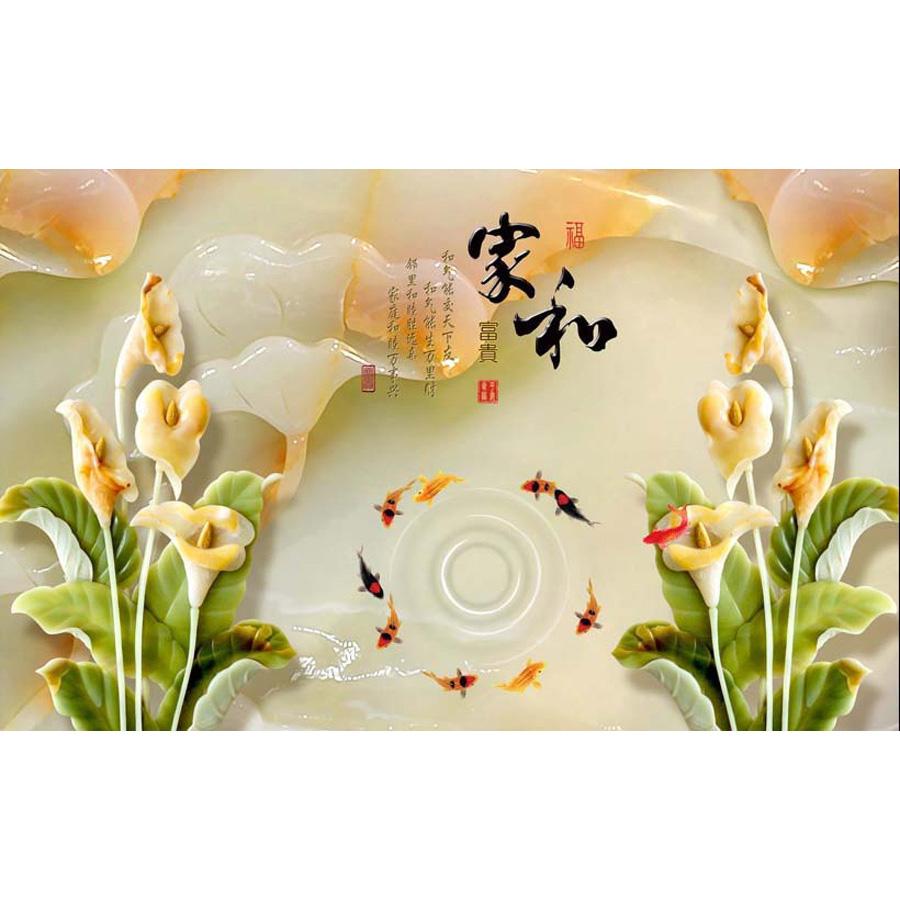 Tranh dán tường 3d | Tranh dán tường phong thủy hoa sen cá chép 3d 334