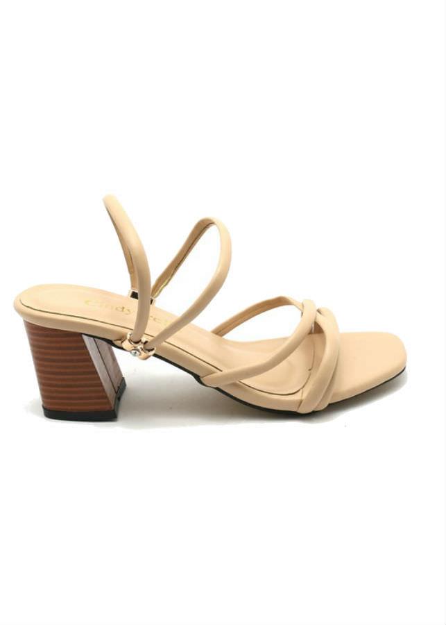 Giày Sandal Nữ Cao Gót Dây Cindydrella C126K - Kem