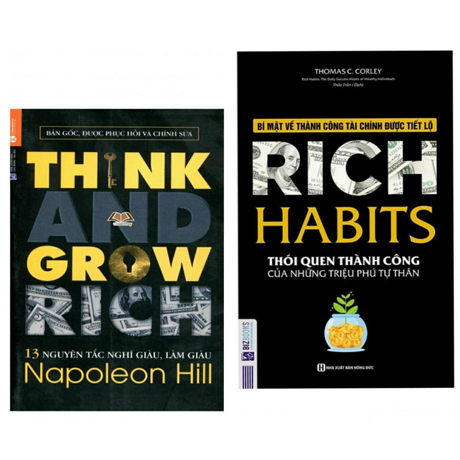 Combo Sách Kinh Tế: 13 Nguyên Tắc Nghĩ Giàu Làm Giàu - Think And Grow Rich + Rich Habit - Thói Quen Thành Công Của Những...
