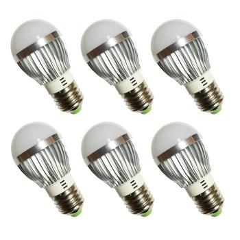 Bộ 6 cái Đèn LED búp nhôm tiết kiệm điện (3W) - Ánh sáng trắng