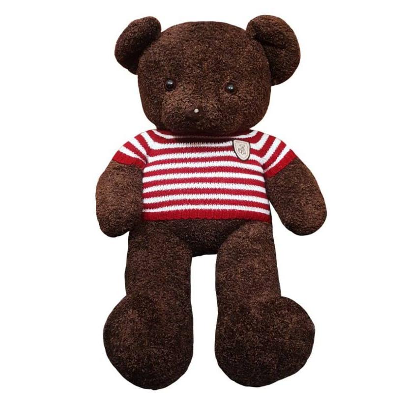 Gấu bông UNISU 1m lông sợi chỉ áo len - Màu nâu sẫm