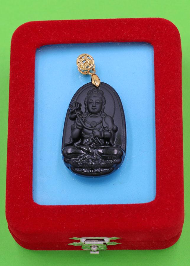 Mặt Phật Đại Thế Chí Bồ Tát - thạch anh đen 3.6cm - kèm hộp nhung - tuổi Ngọ