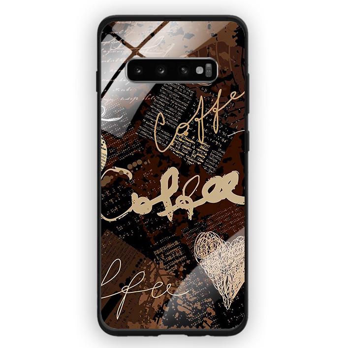 Ốp Lưng Kính Cường Lực Cho Điện Thoại Samsung Galaxy S10 Plus - 391 0073 COFFEE - Hàng Chính Hãng