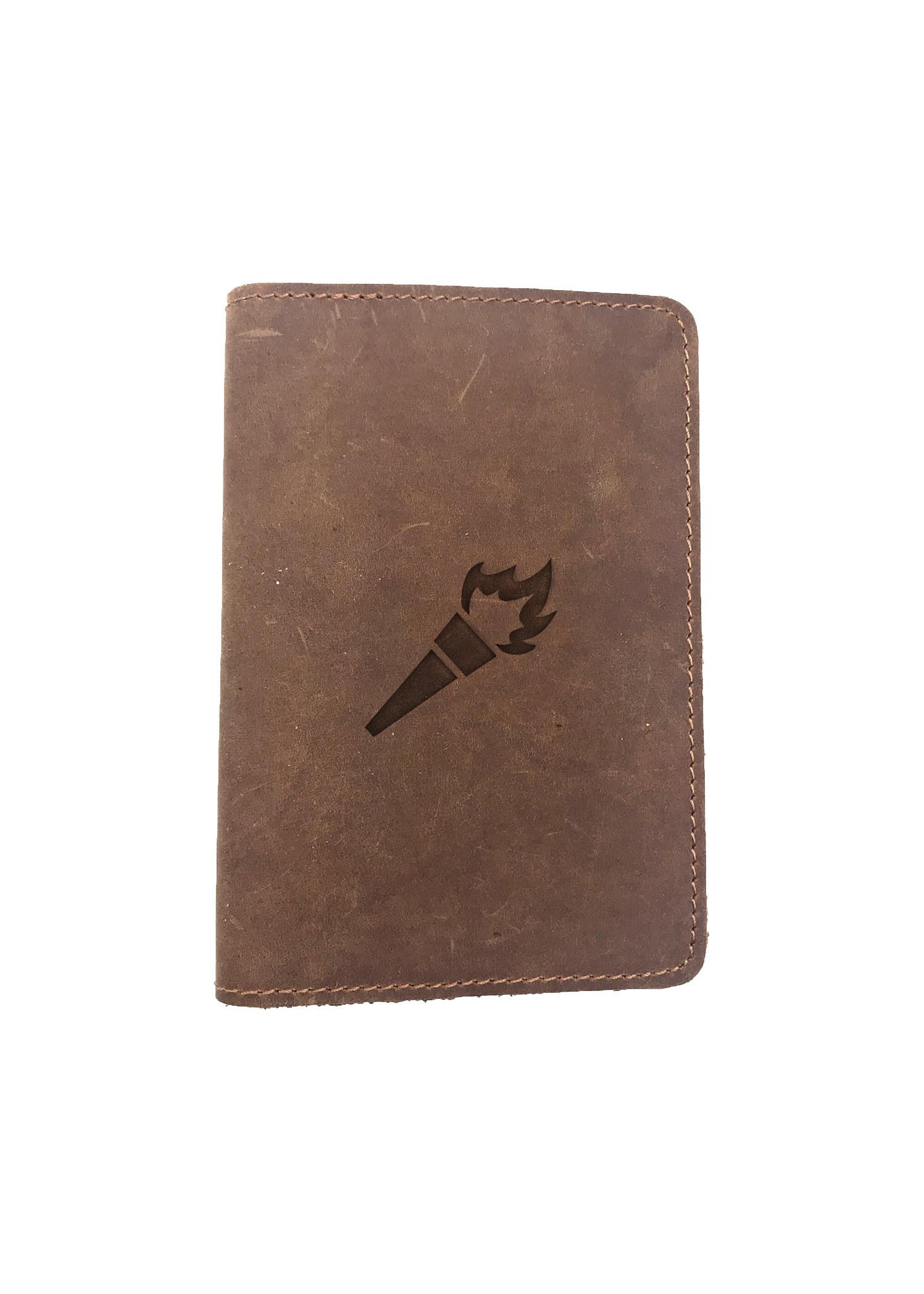 Passport Cover Bao Da Hộ Chiếu Da Sáp Khắc Hình Ngọn đuốc TORCH ICON SYMBOL (BROWN)