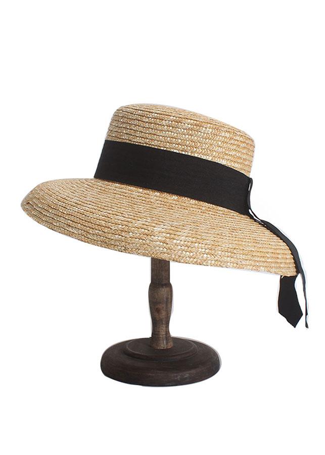 Mũ cói lồng đèn mini size dây nơ đen phom cứng vintage chóp vuông M19-10
