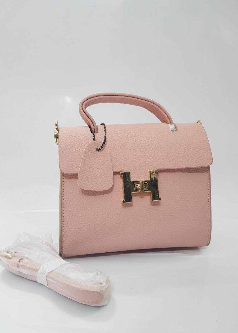 Túi đeo chéo nữ chữ H, màu hồng