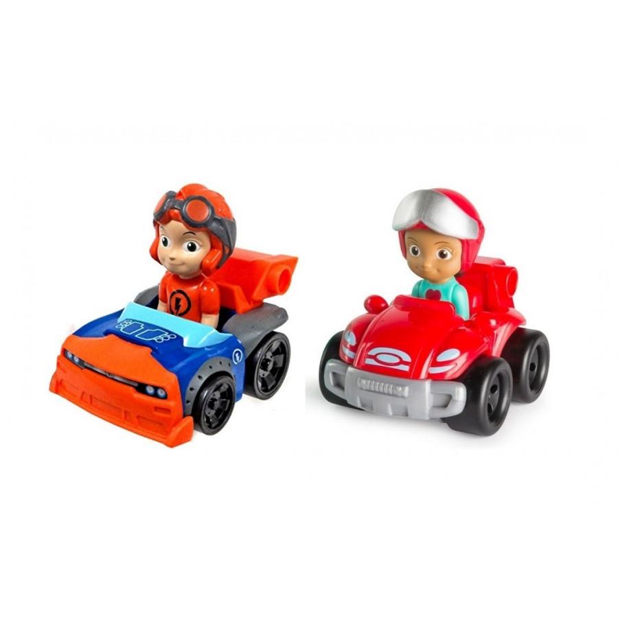 Mô hình 2 xe đua bé trai và bé gái