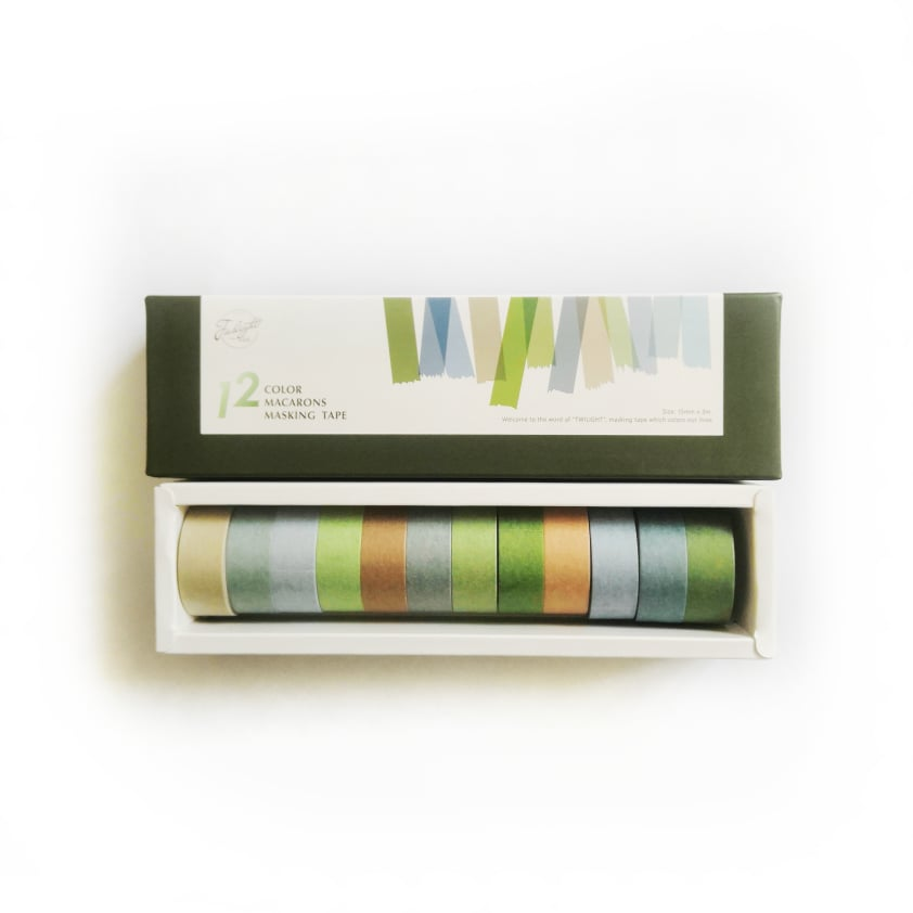 Băng keo giấy trang trí Washi tape Twilight 12 cuộn Leaves colors (15mmx3mx12) - 12 Color macarons Masking tape WS012