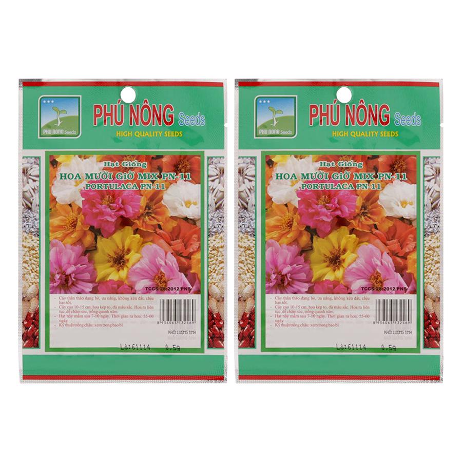 Bộ 2 Gói Hạt Giống Hoa Mười Giờ Mix PN-11 Phú Nông (0.5g / Gói) - 904578 , 1087560465035 , 62_1695557 , 60000 , Bo-2-Goi-Hat-Giong-Hoa-Muoi-Gio-Mix-PN-11-Phu-Nong-0.5g--Goi-62_1695557 , tiki.vn , Bộ 2 Gói Hạt Giống Hoa Mười Giờ Mix PN-11 Phú Nông (0.5g / Gói)