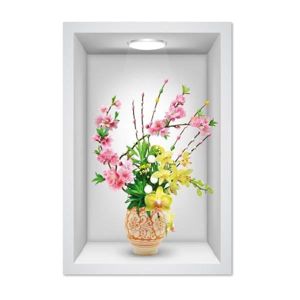 Tranh dán tường ô 3D lọ hoa đẹp 004 KT 40 x 60 cm