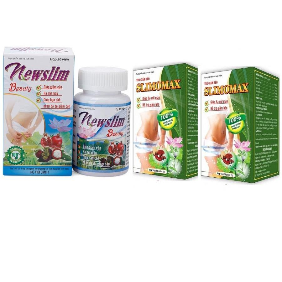 Liệu trình giảm cân 1 hộp viên uống giảm cân Newslim Beauty (30 viên/ hộp) + 2 hộp trà Slimomax  Học viện quân y -...