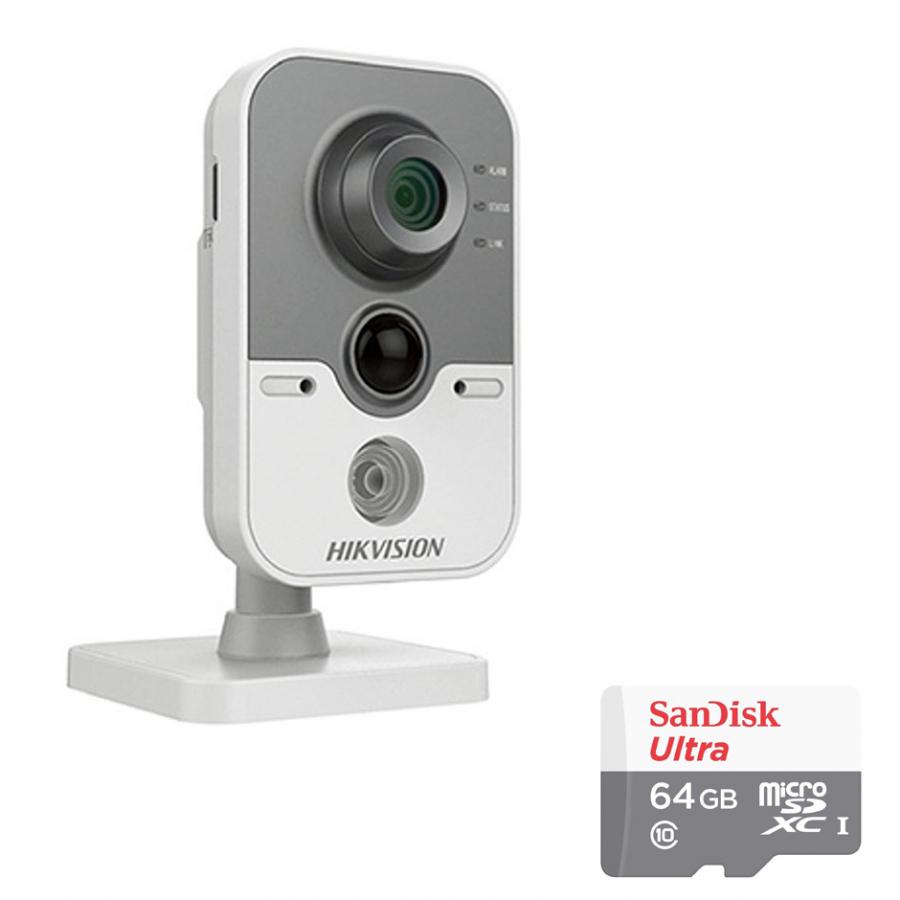 Camera IP Cube DS-2CD2420F-IW Hikvision 2.0MP Và Thẻ Nhớ 64GB - Tặng Kèm Tai Nghe Bluetooth