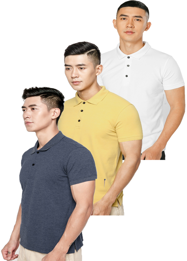 Combo 3  Áo thun nam 100% Cotton, EZ06 (Trắng, xanh đen, vàng)
