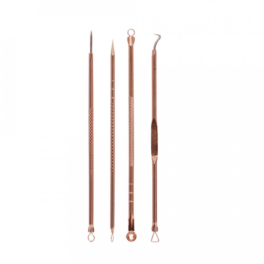 Acne Needle Blackhead Remover Portable Skin Care Antibacterial Pimple Blemish Extractor Rose Gold Stainless Steel Detachable