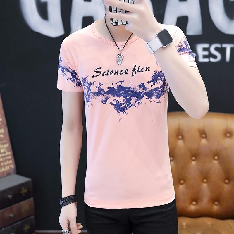 Summer Dragon Smoke Print Round Collar T-shirt Slim Fit Elasticity Cotton Mens T-shirts Short Sleeve T Shirt CT-011