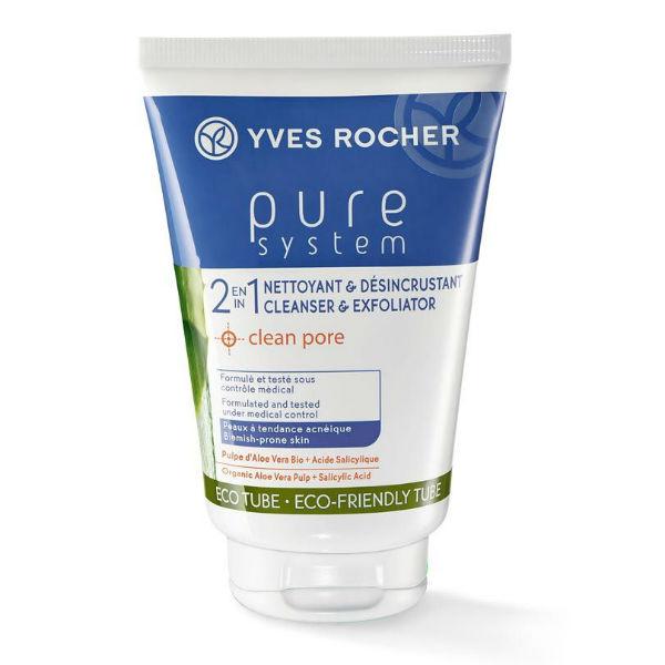 Sữa Rửa Mặt Cho Da Mụn 2 In 1 Cleanser  Exfoliator Yves Rocher (125 ml)