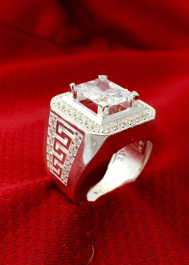 Nhẫn nam đá trắng hình chữ nhật Bạc QTJ - NA16(BẠC)
