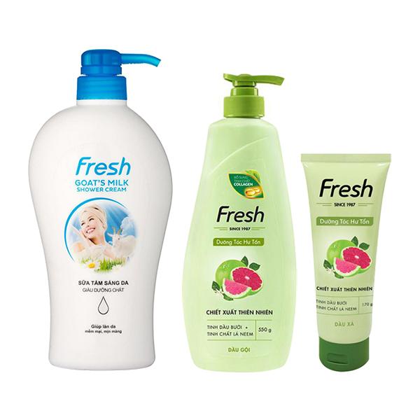 Bộ sản phẩm chăm sóc cơ thể toàn diện Fresh (Dầu gội dưỡng tóc Tinh Dầu Bưởi 550g + Dầu xả Tinh Dầu Bưởi...