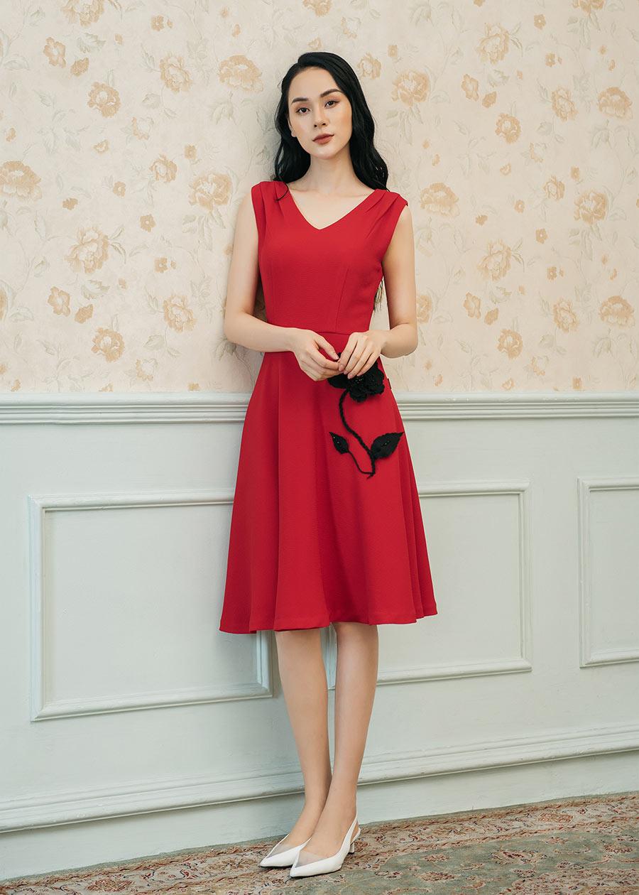 DX1717 Đầm Luxury xòe đính hoa nổi