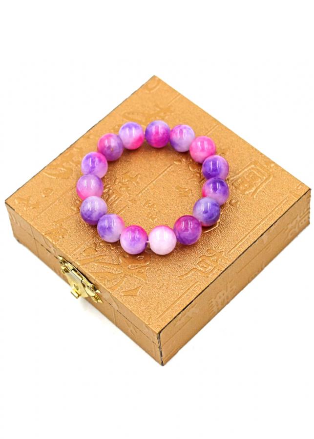 Vòng tay chuỗi hạt tay đá thạch anh hồng tím 13 ly kèm hộp gỗ