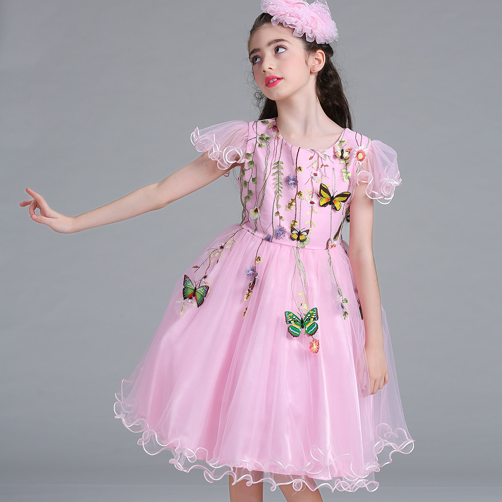 Pink Lace Princess Girl Dress Embroidery Flowers Knee Length Baptism Party Prom dress Girls Wedding Birthday Gown MQ-001