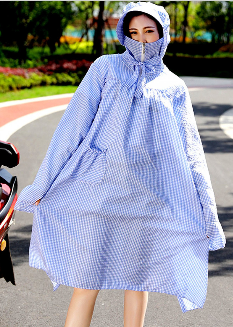 Combo áo chống nắng dài trùm toàn thân (XANH CARO) kèm kính chống nắng (màu ngẫu nhiên)