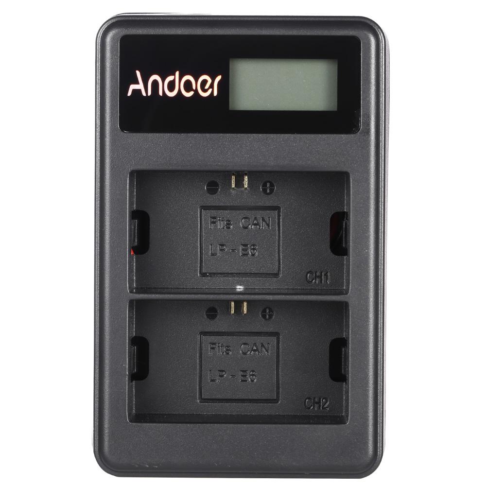 Ổ Sạc Pin LP-E6 Màn Hình LCD Dây USB Andoer Cho Máy Ảnh Canon EOS 6D 7D 70D 60D 5D Mark III Mark II (2 Khe) - 18588318 , 7368171089464 , 62_21418320 , 294000 , O-Sac-Pin-LP-E6-Man-Hinh-LCD-Day-USB-Andoer-Cho-May-Anh-Canon-EOS-6D-7D-70D-60D-5D-Mark-III-Mark-II-2-Khe-62_21418320 , tiki.vn , Ổ Sạc Pin LP-E6 Màn Hình LCD Dây USB Andoer Cho Máy Ảnh Canon EOS 6D 7