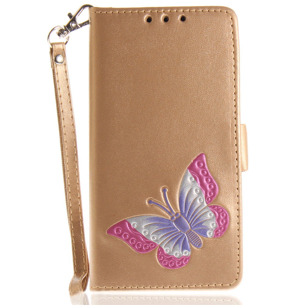 Huawei P8 Lite 2017 Case Painted Butterfly PU Leather Flip Wallet Magnetic Cover for Huawei P8 Lite 2017