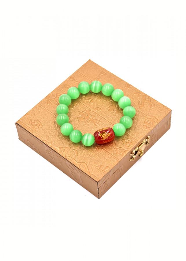 Vòng chuỗi đá mắt mèo xanh 12 ly Thái tuế phù DTTH36 kèm hộp gỗ