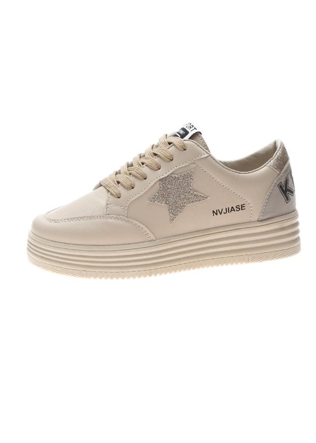 Giày Nữ Giày Bata Nữ Thể Thao Sneaker Trắng Hình Ngôi Sao Gót Dán Kim Tuyến Lung Linh