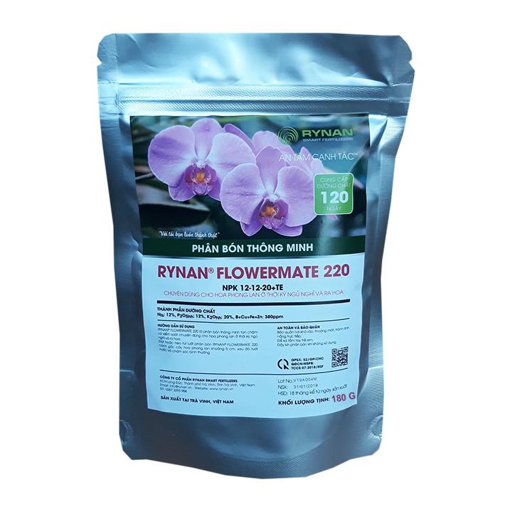 Phân Bón Thông Minh Rynan Flowermate 220 (Túi lọc 180g) - Giúp Phong Lan Ra Hoa, Trổ Đồng Loạt, Lâu Tàn