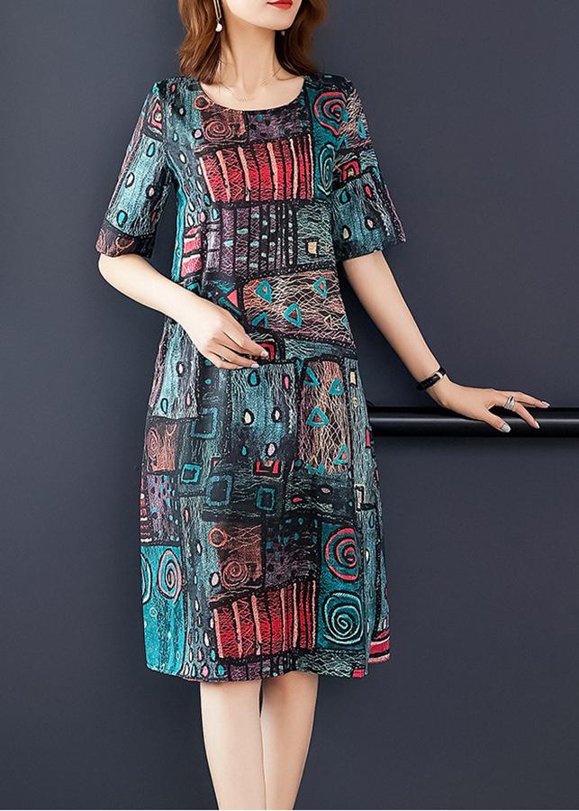 Đầm suông dạo phố kiểu đầm suông in họa tiết xoắn ốc ROMI1657