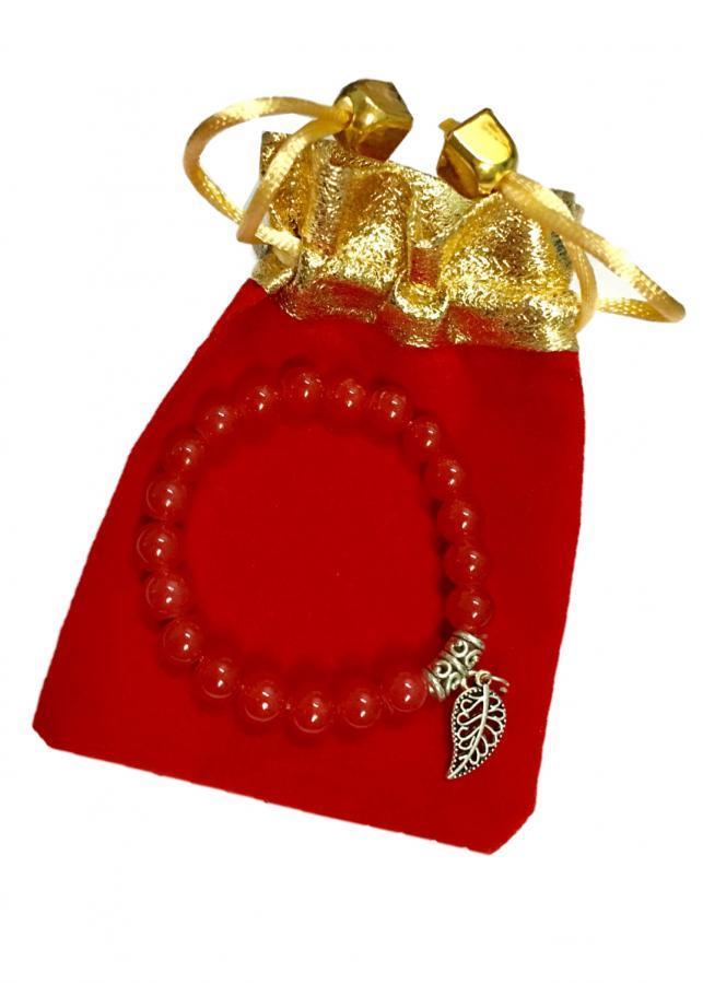 Vòng tay đá thạch anh đỏ gắn họa tiết lá màu bạc cực đẹp HTL01 (cỡ hạt 8li, có kèm túi nhung cao cấp)