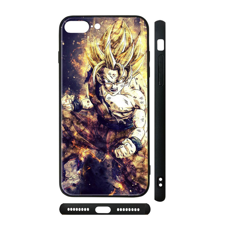 Ốp kính cho iPhone in hình Dragon Ball - Goku Super Saiyan (2) - 7vnr78 (có đủ mã máy)