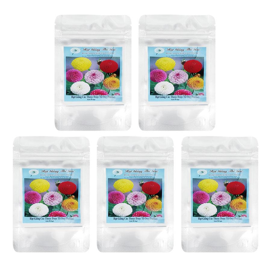 Bộ 5 Túi Hạt Giống Thược Dược Tổ Ong - Mix Màu (Dahlia Variabilis) (50 Hạt/Túi)