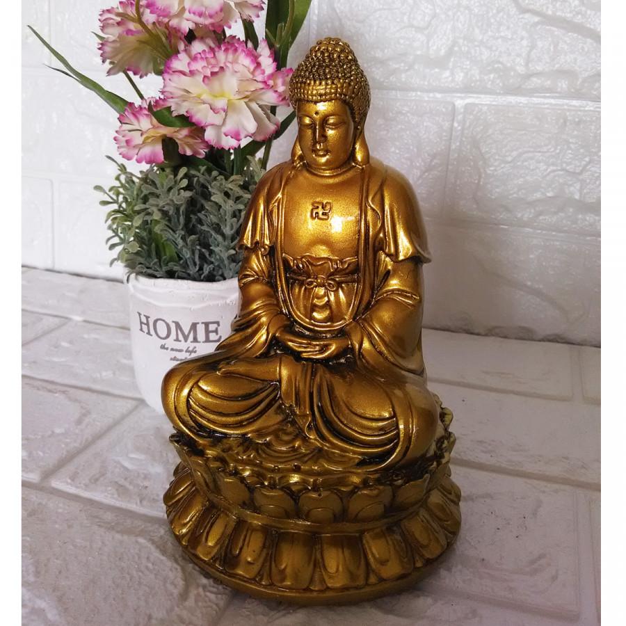 Tượng Phật ADIDA Tọa Đài Sen Đá Poly Phủ Nhũ Đồng ADD17