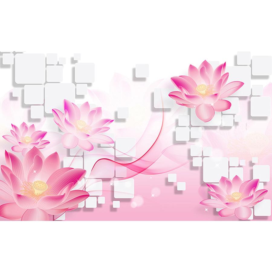 Tranh dán tường 3d | Tranh dán tường phong thủy hoa sen cá chép 3d 115