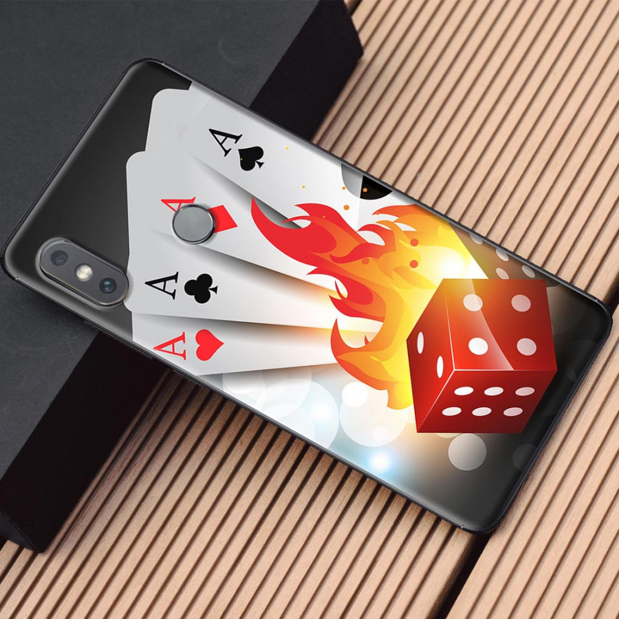 Ốp lưng dành cho Xiaomi Mi Mix 2S mẫu Xúc xắc bài lửa