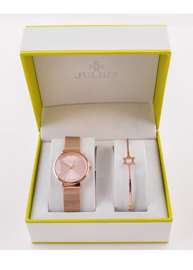 Combo đồng hồ Nữ Julius và lắc tay ngôi sao Julius Black Cat BC-13