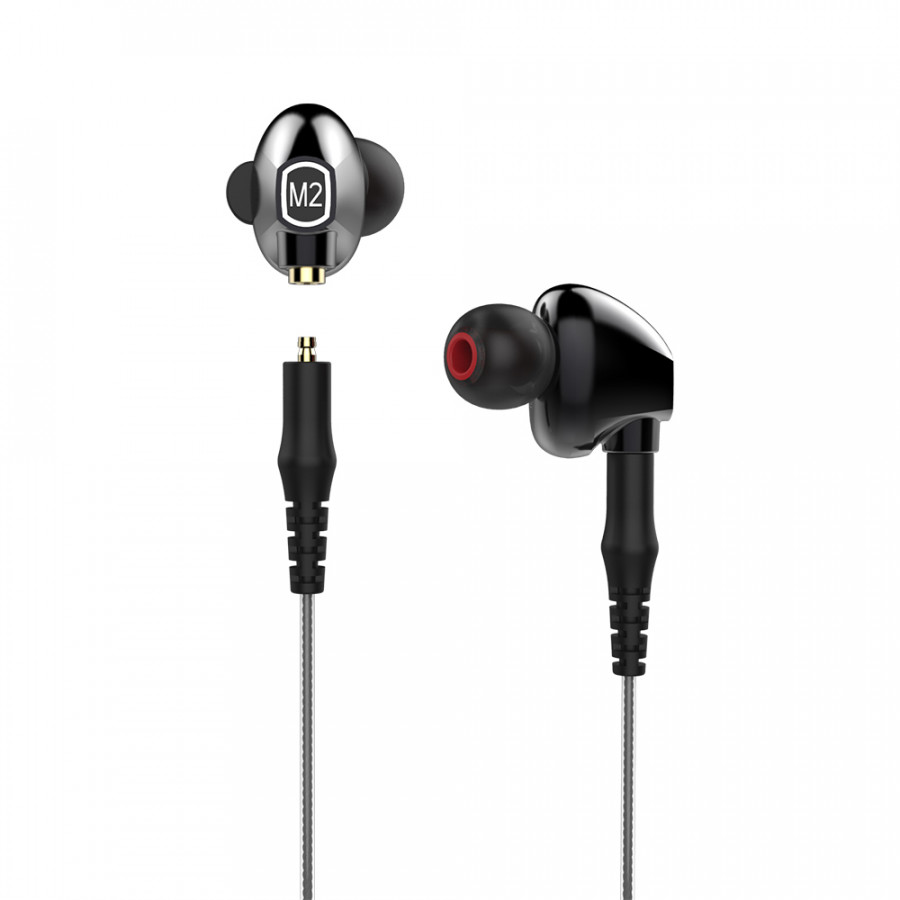 M2 HiFi Stereo Deep Bass In-ear Earbuds Dual-Driver 2-in-1 BT Wireless Headphones + Wired Earphones Built-in Microphone
