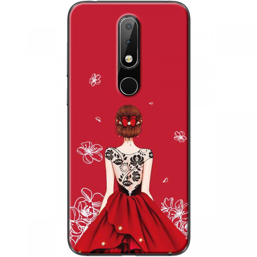 Ốp lưng dành cho điện thoại Nokia 6.1 Plus Mẫu Cô gái váy đỏ áo đen