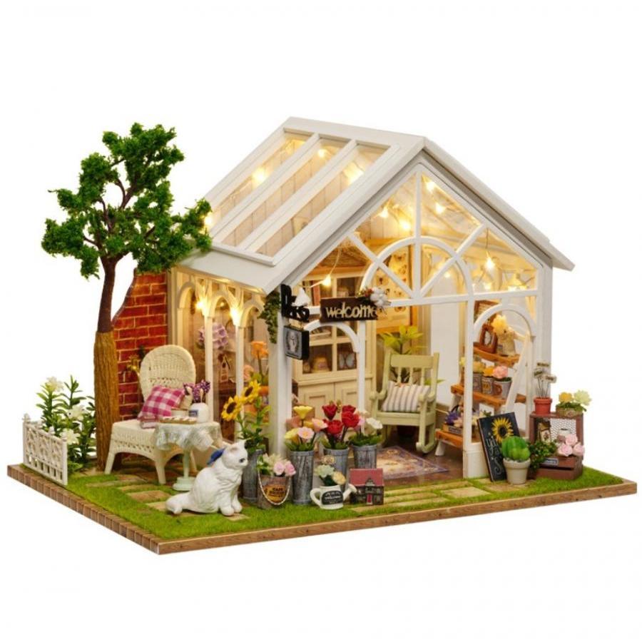 Mô hình nhà búp bê Cute Room - cửa hàng hoa với mèo trắng và ghế dựa trang nhã