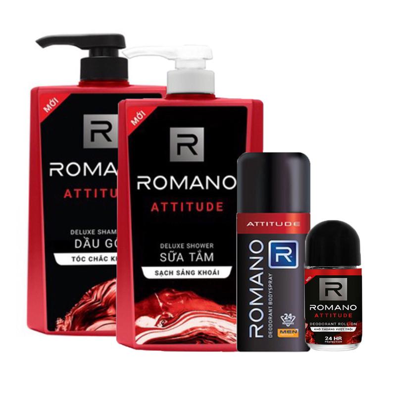 Combo Romano Attitude: Dầu gội 650g, sữa tắm 650g, xịt khử mùi 150ml+ Tặng kèm lăn khử mùi 40ml - 1862718 , 6788059930618 , 62_14129880 , 410000 , Combo-Romano-Attitude-Dau-goi-650g-sua-tam-650g-xit-khu-mui-150ml-Tang-kem-lan-khu-mui-40ml-62_14129880 , tiki.vn , Combo Romano Attitude: Dầu gội 650g, sữa tắm 650g, xịt khử mùi 150ml+ Tặng kèm lăn kh