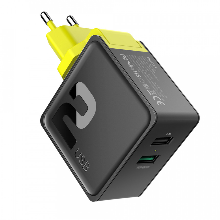 ROCK 2 In 1 Quick Charge 3.0 2 Port USB Portable Travel Charger